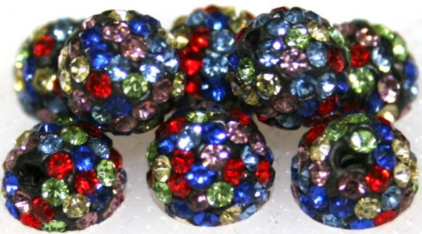 8mm Multi-coloured 70 Stone Pave Crystal Beads- 2 Hole PCB08-70-041